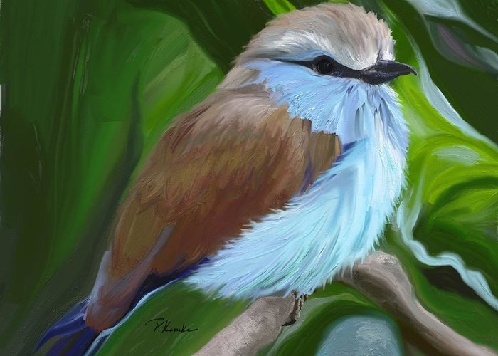 Bird Greeting Card featuring the digital art Racket-tailed Roller by Patricia Kemke