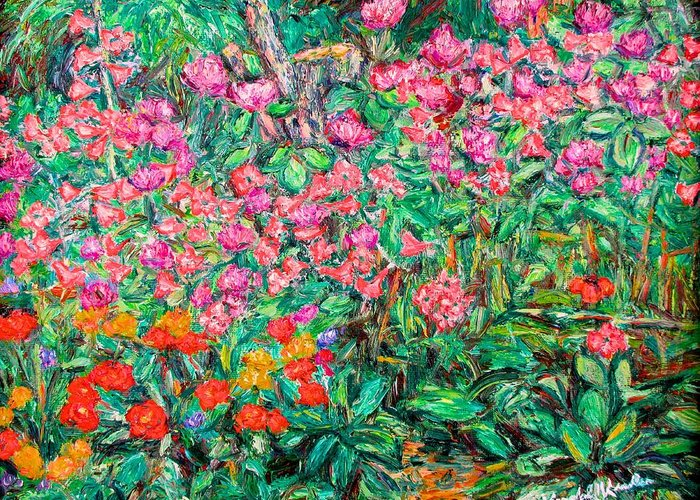 Kendall Kessler Greeting Card featuring the painting Radford Flower Garden by Kendall Kessler