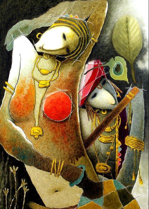 Spiritual Greeting Card featuring the painting Radha N Krishana by Ssb