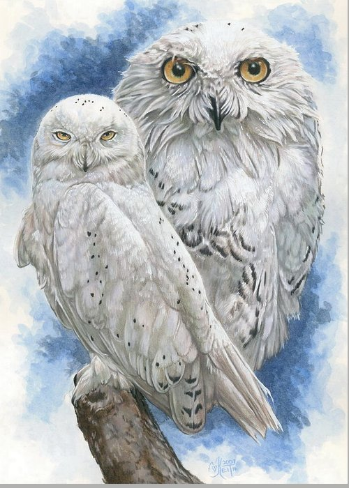 Snowy Owl Greeting Card featuring the mixed media Radiant by Barbara Keith