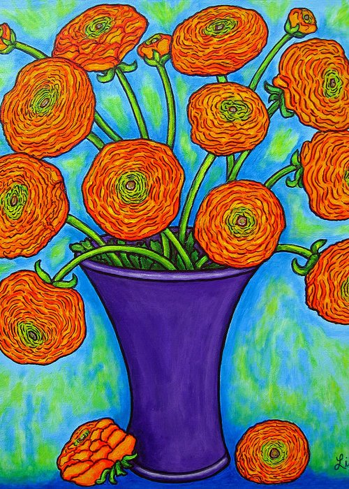 Green Greeting Card featuring the painting Radiant Ranunculus by Lisa Lorenz