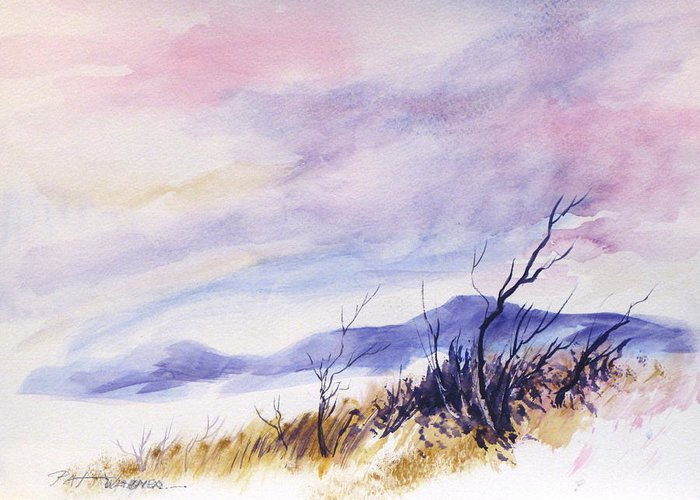 Watercolor Greeting Card featuring the painting Radiant Sky by Pat Wagner