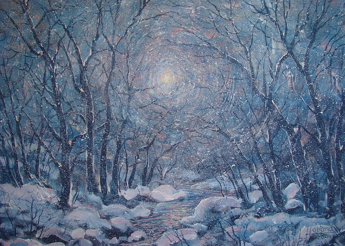 Snow Landscape Greeting Card featuring the painting Radiant Snow Scene by Leonard Holland