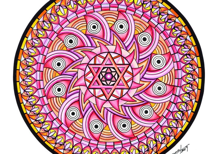 Mandala Greeting Card featuring the painting Radiant Sun by Marcia Lupo
