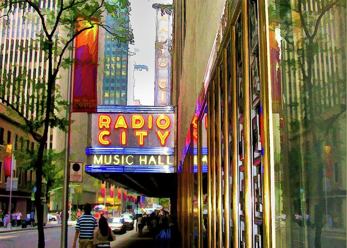 New York City Greeting Card featuring the photograph Radio City Music Hall by Dave Thompsen