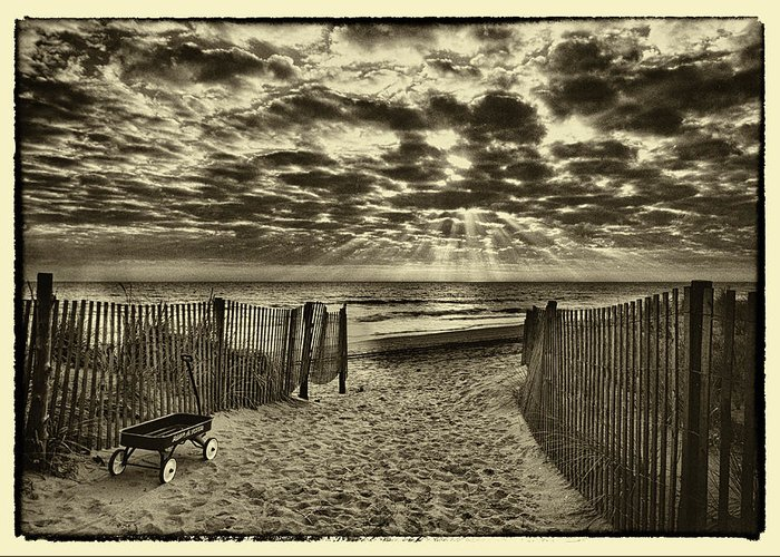 Landscape Greeting Card featuring the photograph Radio Flyer At Dewey Beach by Jack Paolini