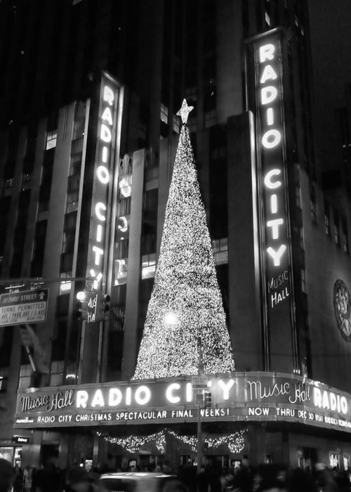 New York City Radio City Music Hall Christmas Lights Tree Night Street Nyc Building Winter Holiday Rockettes Spectacular Photographs Greeting Card featuring the photograph Radio Glow Black And White by Francis Flatley