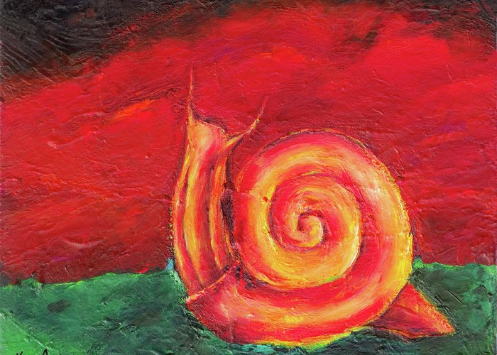 Radioactive Greeting Card featuring the painting Radioactive by Noga Ami-rav