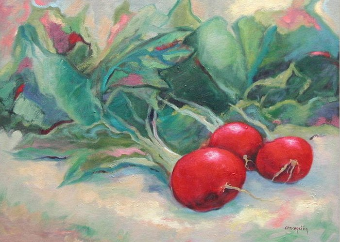 Radishes Greeting Card featuring the painting Radishes by Ginger Concepcion