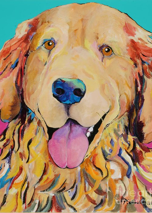Golden Retriever Greeting Card featuring the painting Radley by Pat Saunders-White