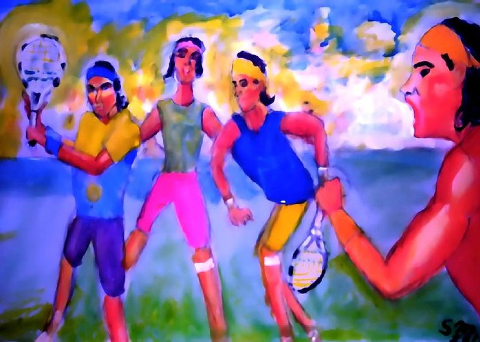 Rafa Greeting Card featuring the painting Rafa Tennis At The French Wimbleton And U.s. Open by Stanley Morganstein