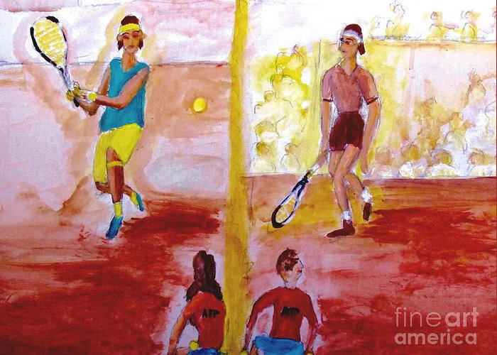 Rafa Greeting Card featuring the painting Rafa Versus Federer by Stanley Morganstein