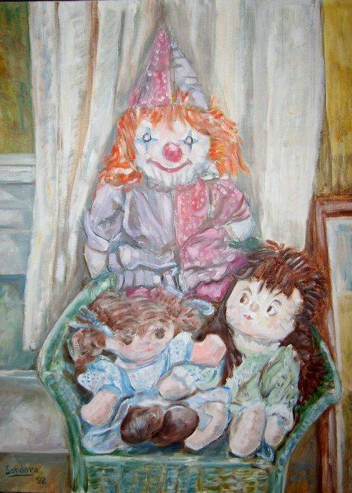 Rag Dolls Chair Orange Hair Greeting Card featuring the painting Rag Dolls 2 by Joseph Sandora Jr
