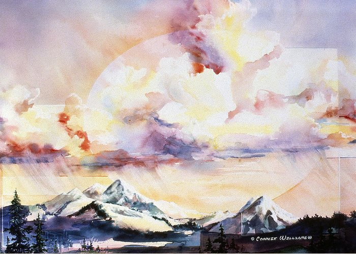 Ragged Mountains Greeting Card featuring the painting Ragged Mountains Sunset by Connie Williams