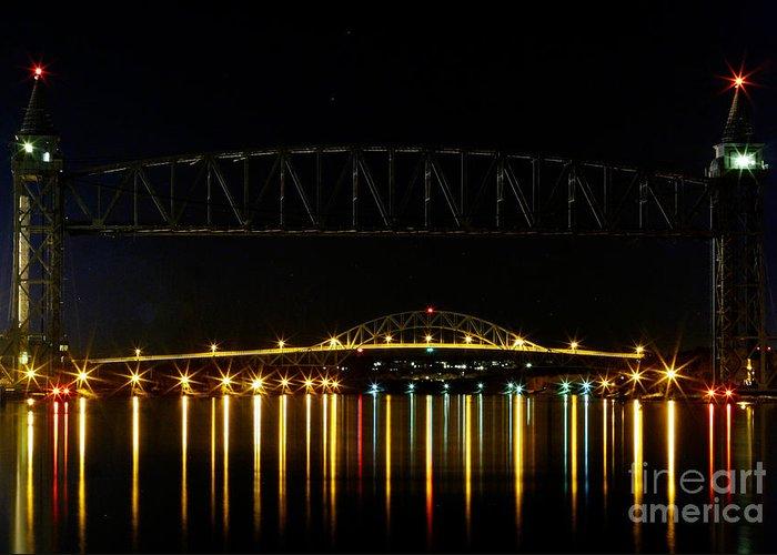 Railroad Bridge Greeting Card featuring the photograph Railroad And Bourne Bridge At Night Cape Cod by Matt Suess
