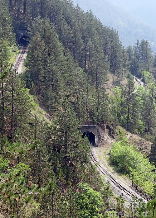 Tunnel Greeting Card featuring the photograph Railroad And Tunnels On Mountain by Goce Risteski