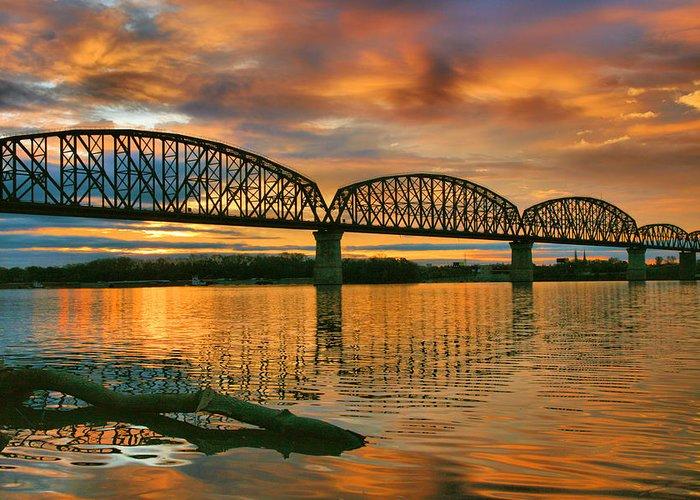 Bridge Greeting Card featuring the photograph Railroad Bridge At Sunrise by Steven Ainsworth