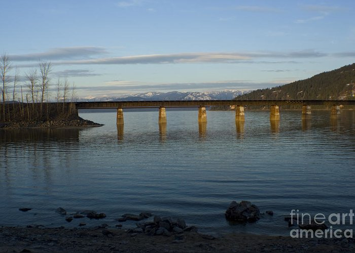 Bridge Greeting Card featuring the photograph Railroad Bridge Over The Pend Oreille by Idaho Scenic Images Linda Lantzy