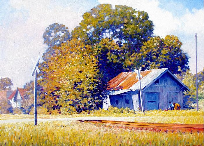 Railroad Track Greeting Card featuring the painting Railroad Crossing by Kevin Lawrence Leveque