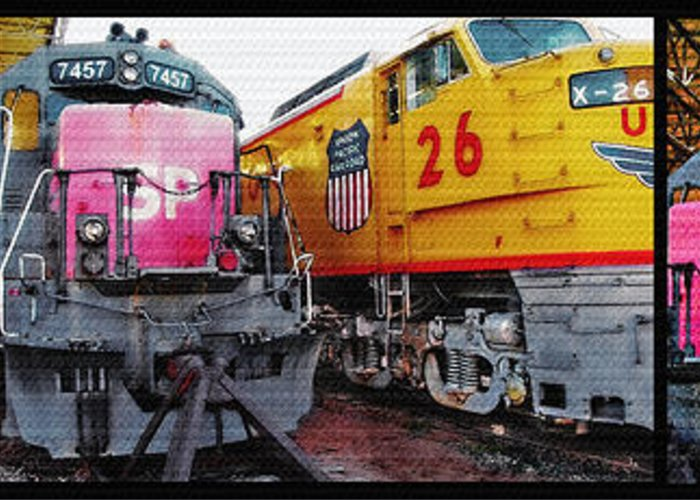 Trains Greeting Card featuring the photograph Railroad Museum Triptych by Steve Ohlsen