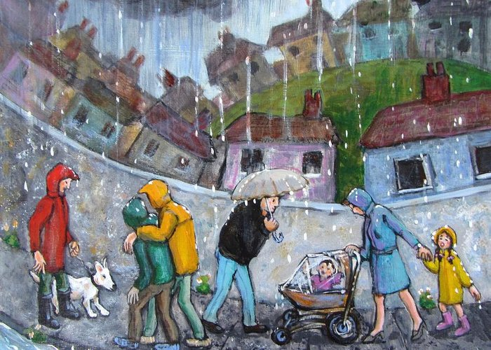 Rain Greeting Card featuring the painting Rain by Barbara de Mora
