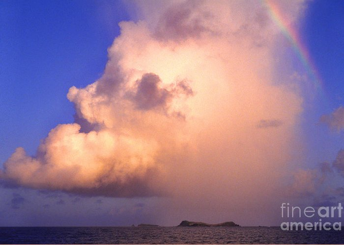 Culebra Greeting Card featuring the photograph Rain Cloud And Rainbow by Thomas R Fletcher