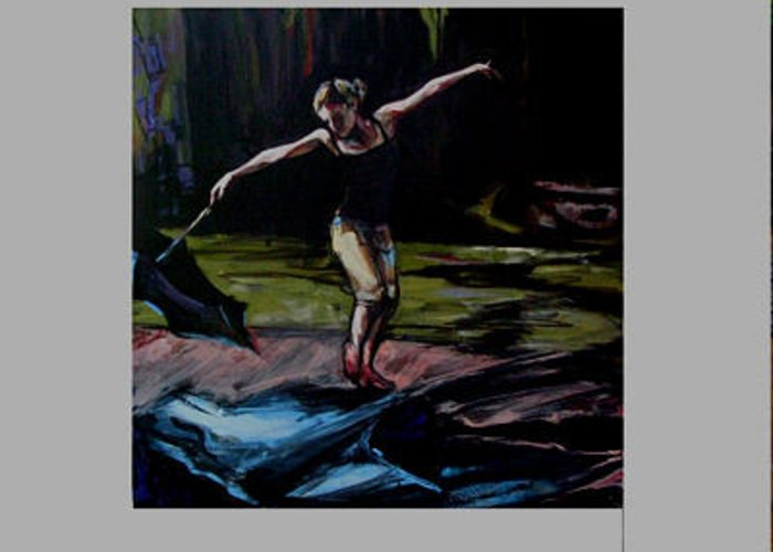 Girl Greeting Card featuring the painting Rain Dance by Michelle Winnie