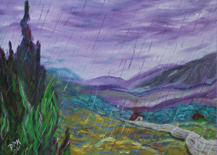 Rain Greeting Card featuring the painting Rain by David McGhee