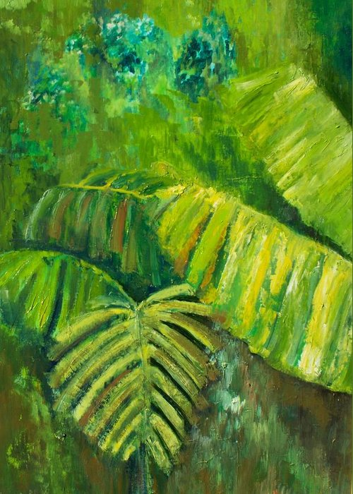 Rain Forest Greeting Card featuring the painting Rain Forest by Carol P Kingsley