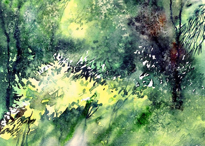 Landscape Watercolor Nature Greenery Rain Greeting Card featuring the painting Rain Gloss by Anil Nene
