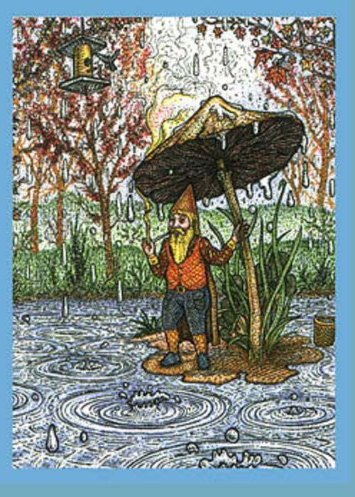 Rain Greeting Card featuring the drawing Rain Gnome by Bill Perkins