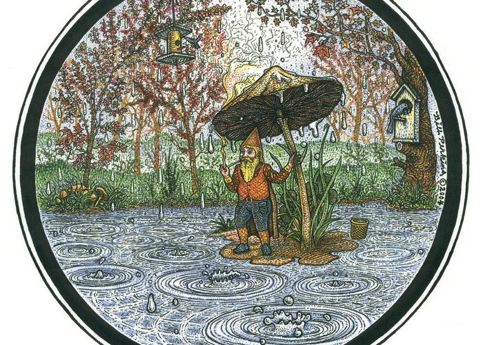 Rain Greeting Card featuring the drawing Rain Gnome Rain Circle by Bill Perkins