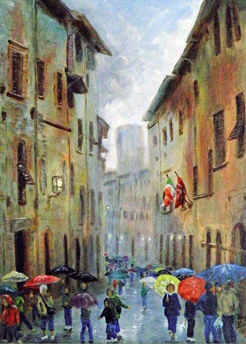 Rain Greeting Card featuring the painting Rain in San Gimignano by Dan Bozich