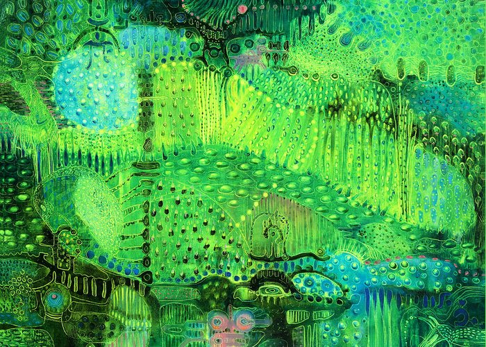 Rain Forest Greeting Card featuring the painting Rain Land I by Lolita Bronzini