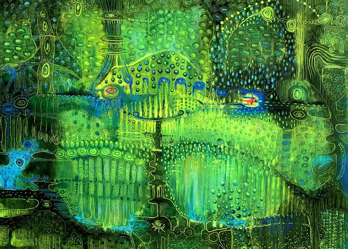 Surrealistic Greeting Card featuring the painting Rain Land II by Lolita Bronzini