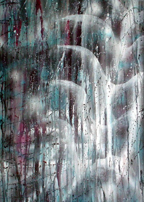 Rain Greeting Card featuring the painting Rain by Leigh Odom
