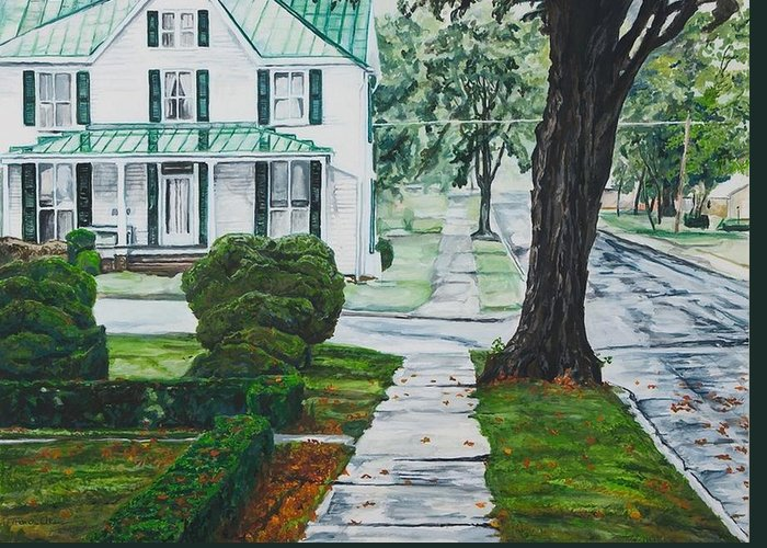 Small Town Greeting Card featuring the painting Rain on Green Roof by Thomas Akers