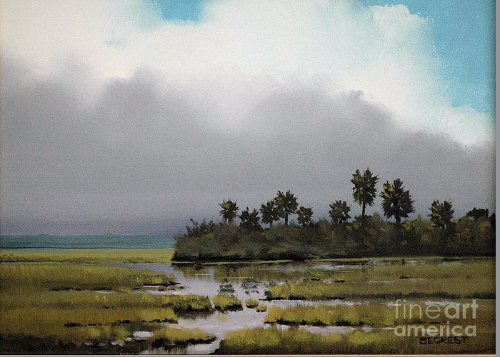 Landscape Greeting Card featuring the painting Rain On The Way by Glenn Secrest