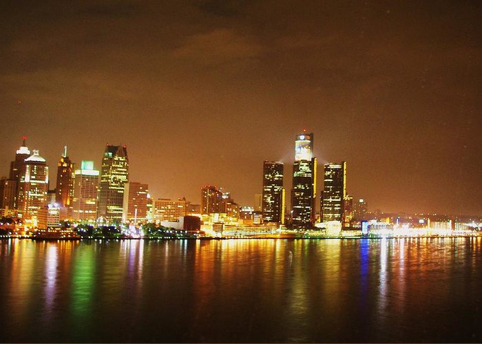 Detroit Greeting Card featuring the photograph Rain Out The Window by Wade Buzanko