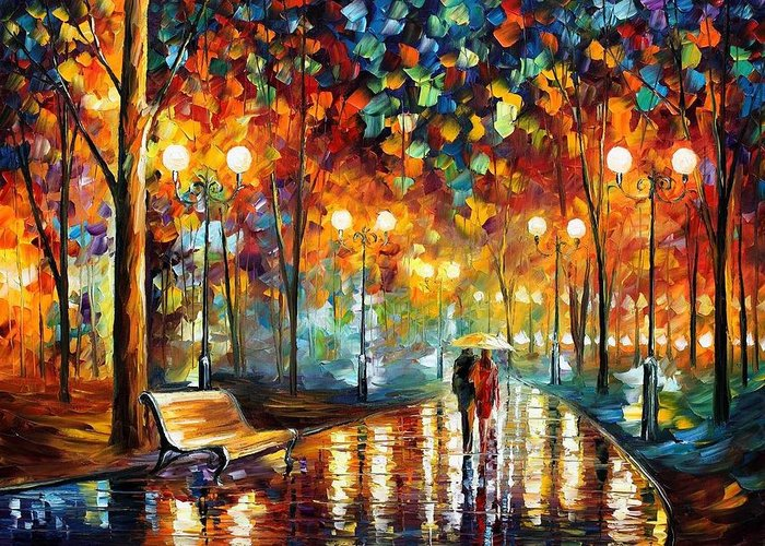 Afremov Greeting Card featuring the painting Rain Rustle by Leonid Afremov