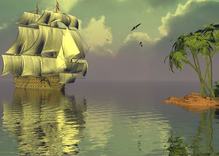 Bryce 3d Fantasy tall Ships Windjammer Sea Greeting Card featuring the digital art Rain Squall On The Horizon by Claude McCoy
