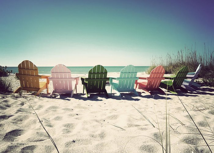 Florida Greeting Card featuring the photograph Rainbow Beach-vintage by Chris Andruskiewicz
