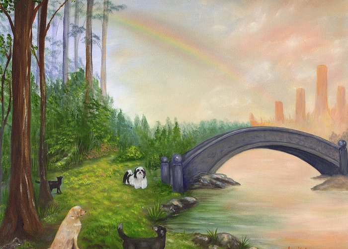 Pet Remembrance Greeting Card featuring the painting Rainbow Bridge by Anne Kushnick