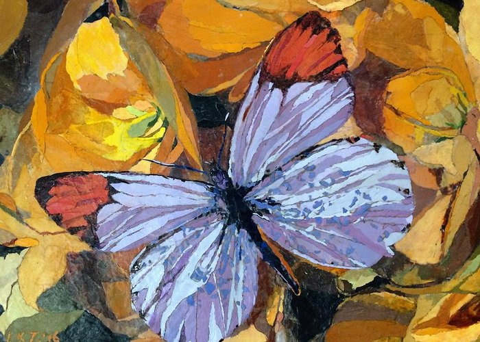 Butterfly Greeting Card featuring the painting Rainbow Butterfly, For Matisse by Leah Tomaino