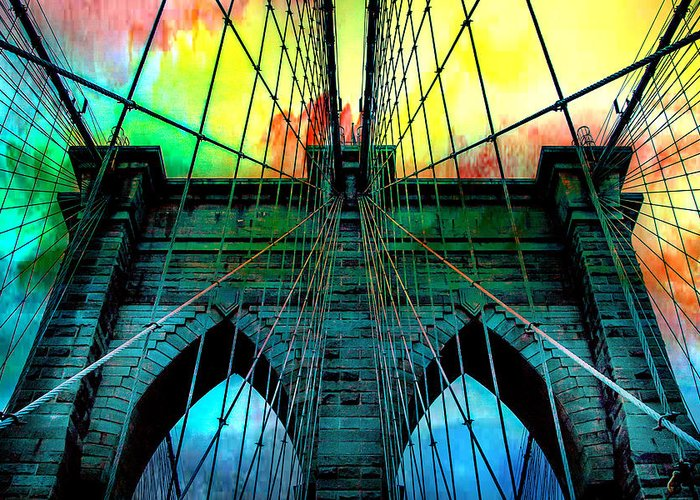 Brooklyn Bridge Greeting Card featuring the photograph Rainbow Ceiling by Az Jackson