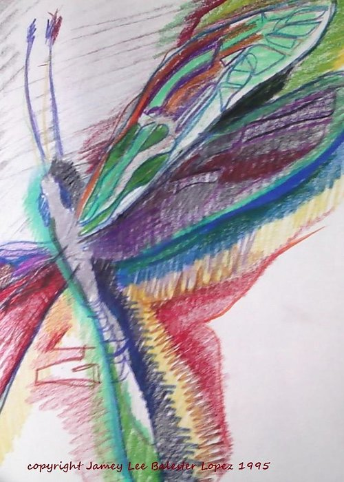 Dragonfly Drawings Greeting Card featuring the drawing Rainbow Dragonfly by Jamey Balester