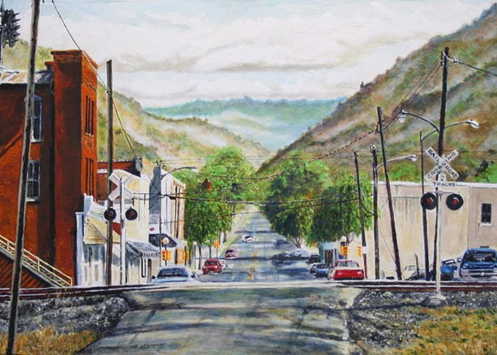 Appalachia Greeting Card featuring the painting Rainbow In Rust by Thomas Akers