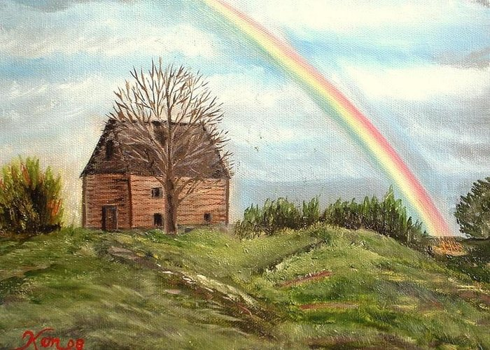 Barn Landscape Rainbow Greeting Card featuring the painting Rainbow by Kenneth LePoidevin