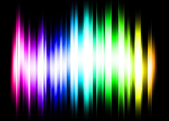 Rainbow Greeting Card featuring the digital art Rainbow Light Rays by Michael Tompsett