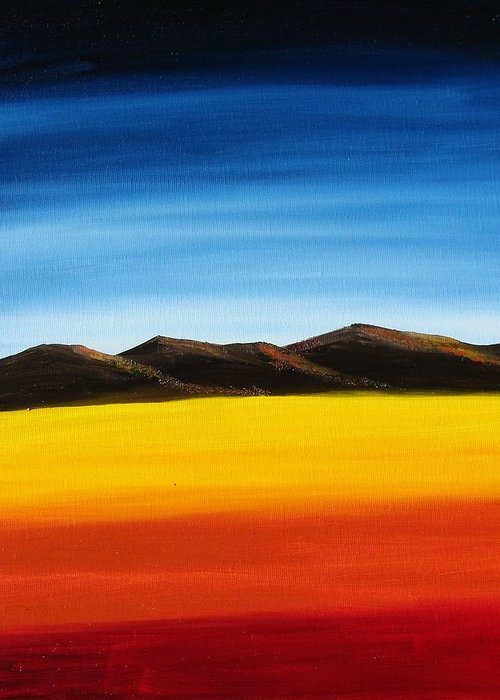 Mountains Greeting Card featuring the painting Rainbow Mountains by Liz Vernand